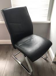7 x black leather meeting office waiting room chairs