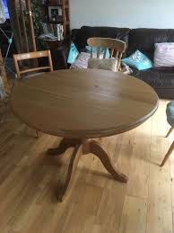 solid pine pedestal round extending dining table