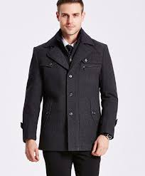 men s autumn and winter removable quilted lining on wool blends pea coat