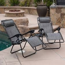 zero anti gravity reclining gray chairs set of 2 tray cup holder mobile device