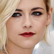 kristen stewart makeup black eyeshadow charcoal eyeshadow red lipstick steal her style