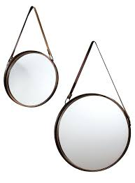 round mirror with strap finest gallery direct set of two round hanging mirrors for the home