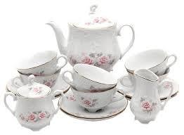 <b>Чайный сервиз</b> Cmielow Rococo (Серая роза) <b>15 предметов</b> ...