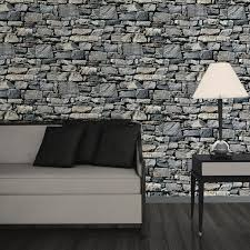 muriva dry stone wall 3d effect grey wallpaper j49409