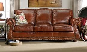 picture of rocky mountain leather company brandy leather sofa