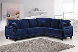 nailhead sectional sofa. Perfect Sectional Meridian Furniture 655NavySectional Ferrara Velvet Upholstered 2 Piece Sectional  Sofa With Square Arms And Nailhead N