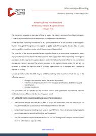 Standard Operating Procedures Sops Warehousing Transport