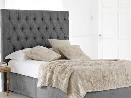 Width Of King Headboard Bed Ideas Kensington Upholstered King Bed Headboard In Grey For