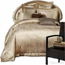whole gold white blue jacquard silk bedding set luxury satin bed set duvet cover king queen bedclothes bed linen sets 16 design silver bedding queen