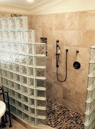 two wall curved glass block shower wall in a step down design with a waterproof ready