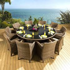 large outdoor dining table on rattan garden set round carver
