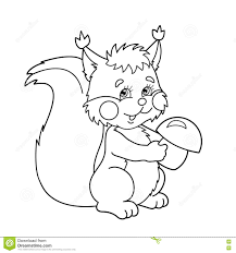Small Picture Coloring Page Outline Of Cartoon Squirrel With Mushrooms Coloring