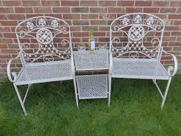 cream 2 seater loveseat metal garden bench 2 chairs with table love seat duo tete