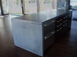 concrete kitchen island countertop gray waterfall style verdicrete island top