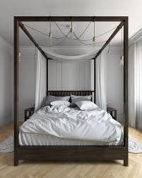 Dark Wood Canopy Bed. four-poster-canopy-bed-Bedroom -Contemporary-with-chandelier-