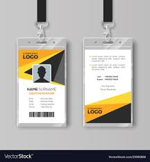 Id Card Templates Free Professional Id Card Template With Yellow Details