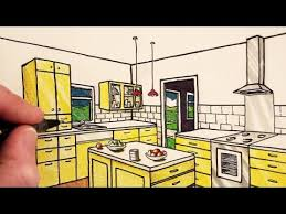 Kitchen Design Sketch New How To Draw A Kitchen Room In 48Point Perspective NARRATED YouTube