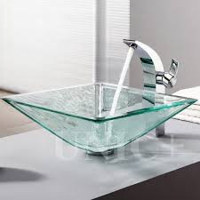 clear vessel sink. Wonderful Clear Modern Square Shape Clear Tempered Glass Bathroom Vessel Sink  BVG007  In Vancouver On