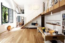 architecture small home office with white interior decoration ideas under wooden staircase with laminate flooring