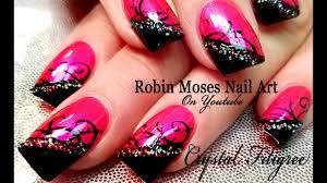 Pink Nail Art Design Diy Easy Hot Pink Nail Art Design Summer Nails With Crystals Tutorial