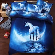 com suncloris 3d beautiful blue unicorn queen size 4pc bedding sheet sets duvet cover flat sheet 2 pillowcase no comforter inside home kitchen