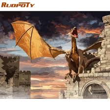 RUOPOTY Frame Man And Dragon DIY Painting By Numbers ...