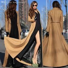 2018 whole european style dess clothes winter outwear woolen coat women floor length trench coat for women manteau femme patchwork from hongdoushan