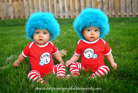 our twins first costumes thing 1 and thing 2