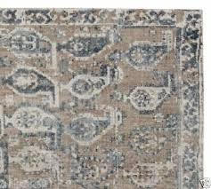 pottery barn malia paisley tufted wool runner rug neutral blue 2 5 x 9 authentic