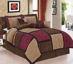 Amazon.com: Legacy Decor 7 Piece Brown Burgundy & Beige Micro Suede  Patchwork Comforter Bed-in-a-bag Set Washable Queen Size: Home & Kitchen