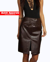 faux leather skirt with front split