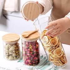2019 storage cereal container air tight canisters with bamboo lids glass jars for kitchen storage from williem 33 77 dhgate com