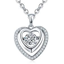 2019 dancing diamond 925 sterling silver heart necklaces pendants for women fashion fine jewelry whole locket necklaces jewelry dp74610c from