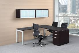 modern lshaped desk with glass door wall mount hutch