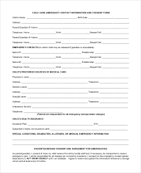 Emergency Contact Forms For Children Sample Daycare Form 10 Examples In Pdf Word