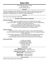 Hospitality Resumes Examples Housekeeper Room Attendant Resume