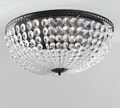 impressive flush mount chandelier crystal mia faceted crystal oversized flushmount pottery barn
