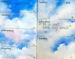 july journal pages and a beach excursion watercolor cloudswatercolor