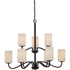 filament design 9 light forest bronze chandelier with white glass shade