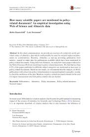 How Many Scientific Papers Are Mentioned In Policy Related Documents