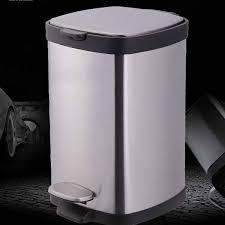 black metal kitchen trash can