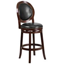 flash furniture ta 550130 ca gg cappuccino wood bar height oval back stool with black leather