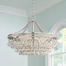 cabinet fancy brushed nickel crystal chandelier intended 15 wohlfurst 20 1 4 wide pendant light style