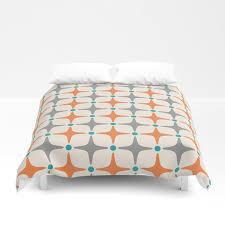 mid century modern star pattern grey and orange duvet cover
