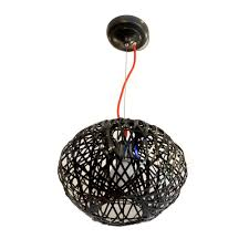 arrow black interwoven wire ceiling pendant light with a red cord