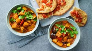 vegetable curry with quick naan breads