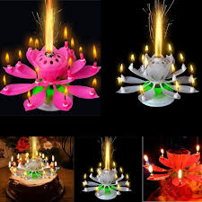 birthday candles beautiful al lotus flower happy birthday party gift rotating lights decoration 8 candles lamp