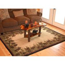 3 by 5 rug rustic lodge brown polypropylene pine cone border cabin area rug x 7 3 by 5 rug