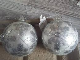 Christbaumschmuck Silber Weiß 2 Kugeln Glas Neu Eur 499
