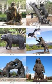 more designs of life size bronze black bear garden statues